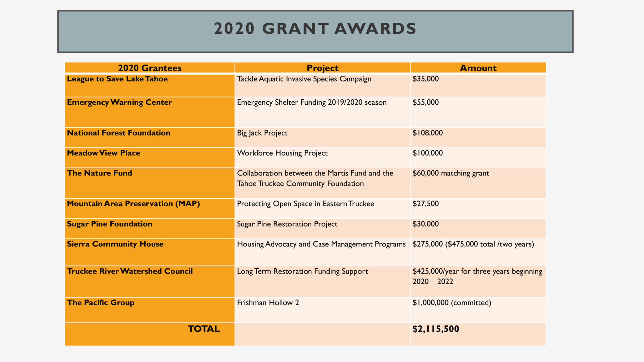 Martis Fund 2020 Grantee Awards